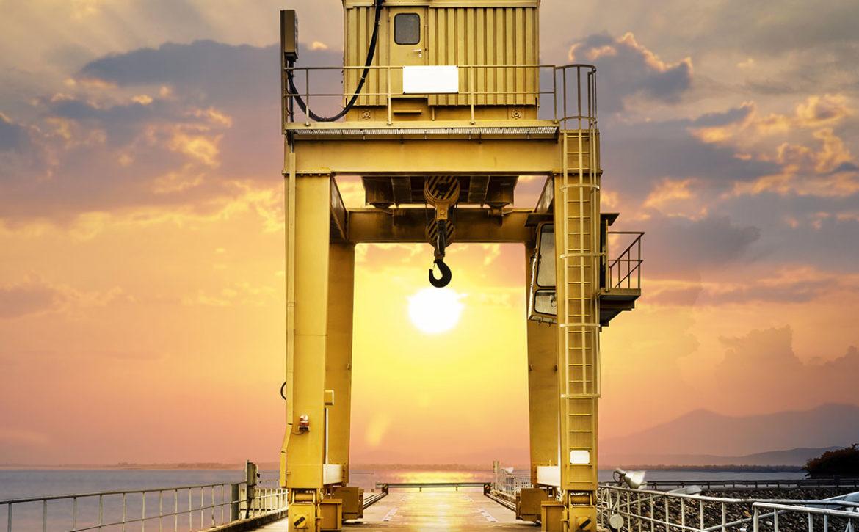 Large Gantry Crane on Sunset